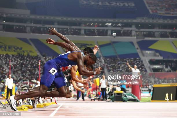 Justin Gatlin of the United States and others run in the Men's 100 Metres heats during day one of 17th IAAF World Athletics Championships Doha 2019...