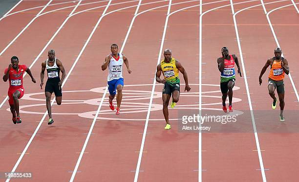 Justin Gatlin of the United States Ben Youssef Meite of Cote d'Ivoire Jimmy Vicaut of France Asafa Powell of Jamaica Suwaibou Sanneh of Gambia and...