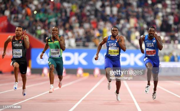 Justin Gatlin of the United States Christian Coleman of the United States Akani Simbine of South Africa and Andre De Grasse of Canada compete in the...