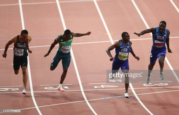 Justin Gatlin of the United States, Christian Coleman of the United States, Akani Simbine of South Africa, and Andre De Grasse of Canada compete in...