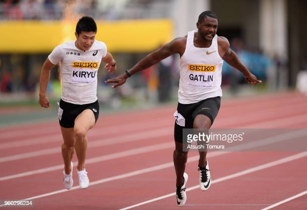 Justin Gatlin of the United States crosses the finish line to win the Men's 100m during the IAAF Golden Grand Prix at Yanmar Stadium Nagai on May 20...