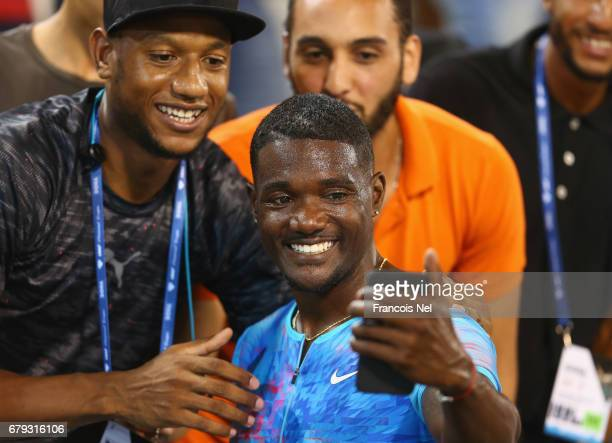 Justin Gatlin of the United States poses for a selfie photograph after the Men's 100 metres during the Doha IAAF Diamond League 2017 at the Qatar...