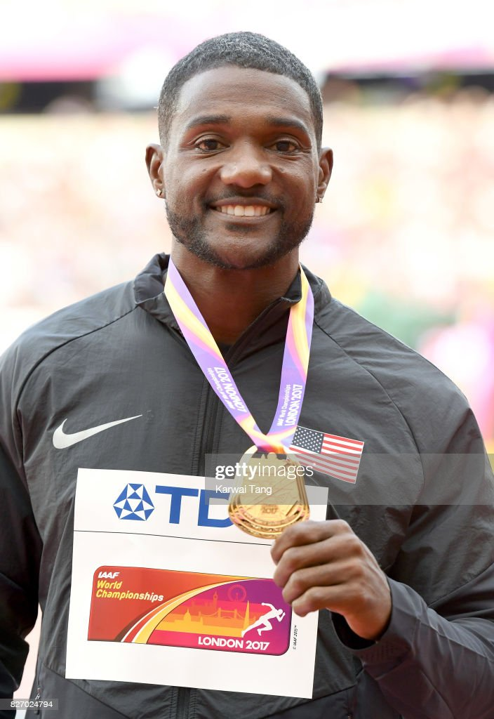 Justin Gatlin of the United States poses with his gold medal for the Men's 100 metres during day three of the IAAF World Athletics Championships at the London Stadium on August 6, 2017 in London, United Kingdom.