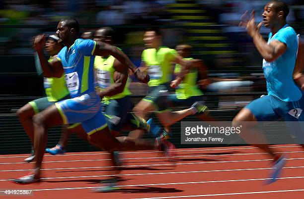 Justin Gatlin of the United States runs in the 100m dash during day 2 of the IAAF Diamond League Nike Prefontaine Classic on May 31 2014 at the...