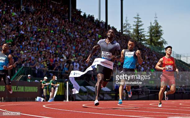 Justin Gatlin of the United States wins the 100 meter dash at Hayward Field on May 28 2016 in Eugene Oregon