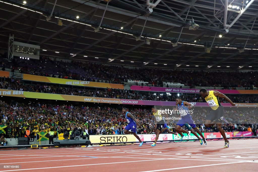 Justin Gatlin (left) of the United States wins the Men's 100 metres final from Yohan Blake of Jamaica, Christian Coleman of the United States and Usain Bolt of Jamaica (right) during day two of the 16th IAAF World Athletics Championships London 2017 at The London Stadium on August 5, 2017 in London, United Kingdom. Gatlin won in a time of 9.92 seconds