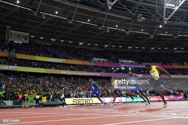 Justin Gatlin of the United States wins the Men's 100 metres final from Yohan Blake of Jamaica Christian Coleman of the United States and Usain Bolt...