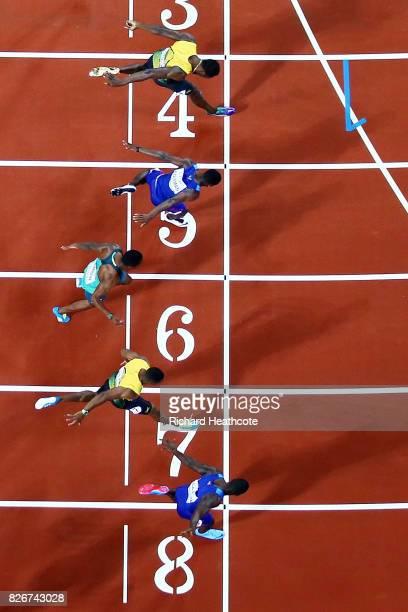 Justin Gatlin of the United States Yohan Blake of Jamaica Akani Simbine of South Africa and Christian Coleman of the United States Usain Bolt of...