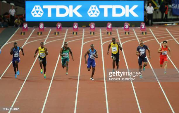 Justin Gatlin of the United States Yohan Blake of Jamaica Akani Simbine of South Africa Christian Coleman of the United States Usain Bolt of Jamaica...