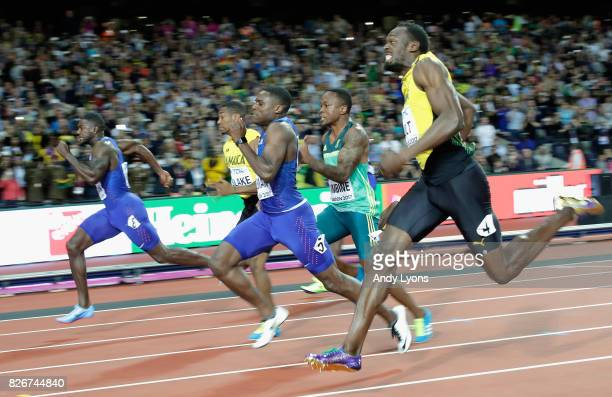 Justin Gatlin of the United States Yohan Blake of Jamaica Christian Coleman of the United States and Usain Bolt of Jamaica compete in the men's 100m...