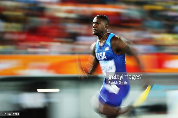 Justin Gatlin of the USA competes in the Men's 4 x 100 Meters Relay Final during the IAAF/BTC World Relays Bahamas 2017 at Thomas Robinson Stadium on...