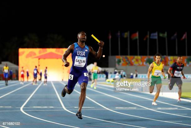 Justin Gatlin of the USA crosses the finishline in the Men's 4 x 100 Meters Relay Final during the IAAF/BTC World Relays Bahamas 2017 at Thomas...