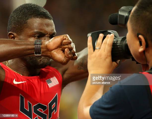 Justin Gatlin of the USA prepares for the Men's 100 M Final at the 15th International Association of Athletics Federations Athletics World...