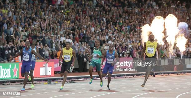 Justin Gatlin of the USA Yohan Blake of Jamaica Akani Simbine of South Africa Christian Coleman of The USA and Usain Bolt of Jamaica cross the finish...