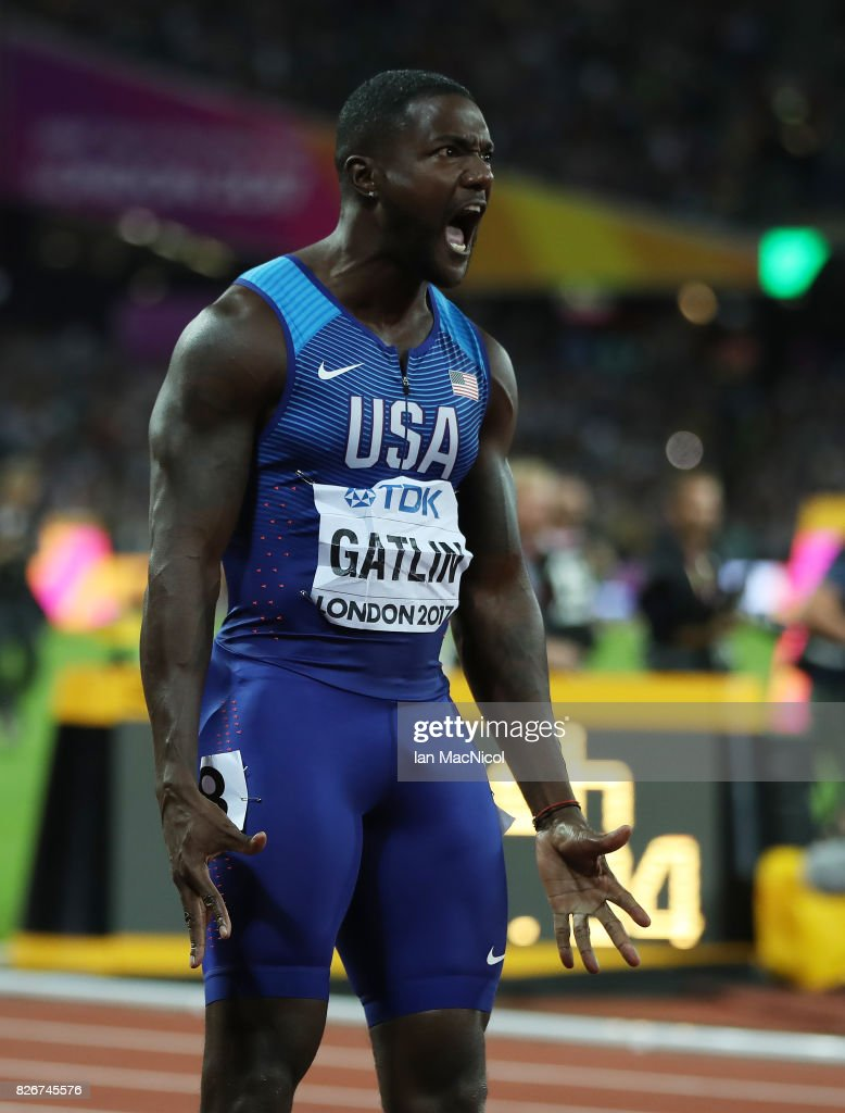 Justin Gatlin of United States reacts when he wins the Men's 100m final during day two of the 16th IAAF World Athletics Championships London 2017 at The London Stadium on August 5, 2017 in London, United Kingdom.