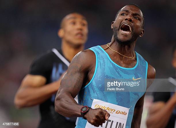Justin Gatlin of USA reacts after winning the men's 100m during the IAAF Golden Gala at Stadio Olimpico on June 4 2015 in Rome Italy