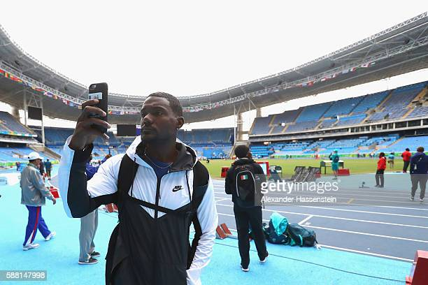 Justin Gatlin of USA takes as selfie photograph prior to a training session at Olympic Stadium on August 10 2016 in Rio de Janeiro Brazil
