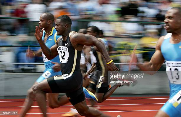 Justin Gatlin runs to victory in the Men's 100m during the 2005 Nike Prefontaine Classic Grand Prix on June 4 2005 at Hayward Field in Eugene Oregon
