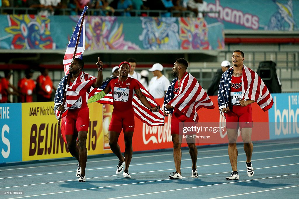 Justin Gatlin, Ryan Bailey, Tyson Gay, and Mike Rodgers of the United States celebrate after winning the final of the men's 4 x 100 metres on day one of the IAAF World Relays at Thomas Robinson Stadium on May 2, 2015 in Nassau, Bahamas.