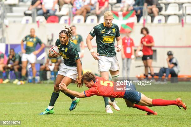 Justin Geduld of South Africa during the match between South Africa and Spain at the HSBC Paris Sevens stage of the Rugby Sevens World Series at...