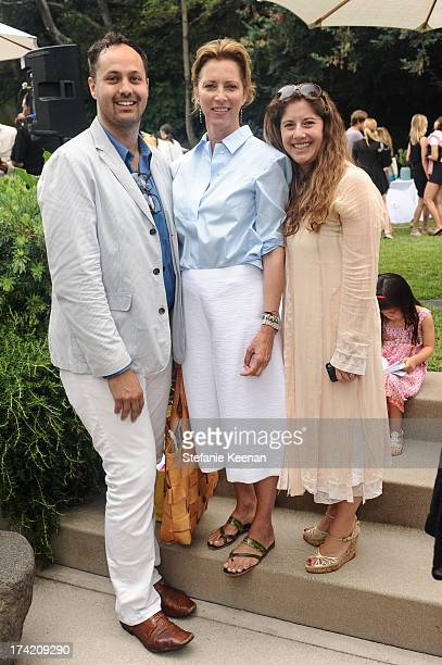 Justin Gilanyi Jennifer Simchowitz and Andrea Feldman Falcione attend LAXART 2013 Garden Party on July 21 2013 in Los Angeles California