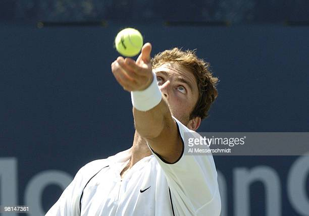 Justin Gimelstob competes in the first round of the men's doubles September 3 2004 at the 2004 US Open in New York