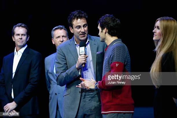 Justin Gimelstob interviews Roger Federer of Switzerland as Stefan Edberg Chris Kermode Executive Chairman President of the ATP and Anna Budel...
