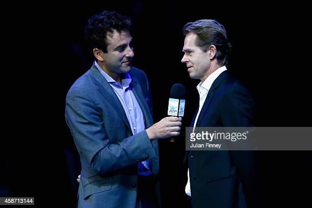 Justin Gimelstob talks to Stefan Edberg before presenting Roger Federer of Switzerland the Moet Chandon Stefan Edberg Sportmanship Award and the Fans...
