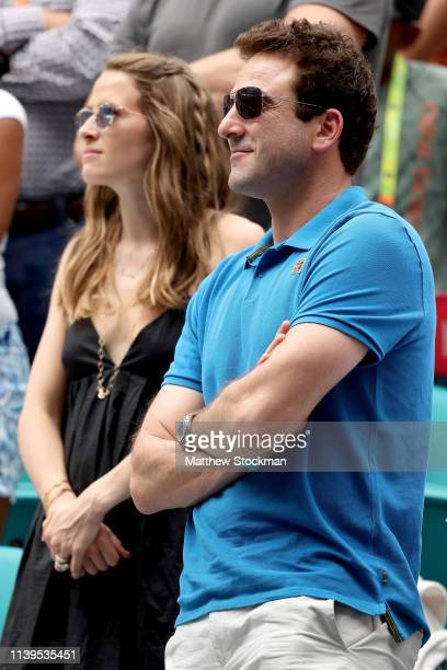 Justin Gimelstob watches the trophy ceremony for the men's final between John Isner and Roger Federer during the Miami Open Presented by Itau at Hard...