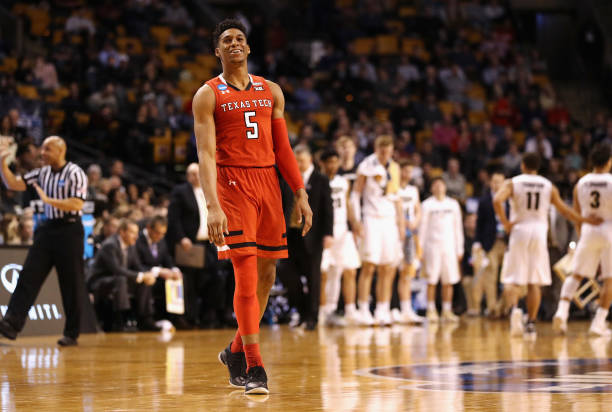 Justin Gray of the Texas Tech Red Raiders reacts during the second half against the Purdue Boilermakers in the 2018 NCAA Men's Basketball Tournament...