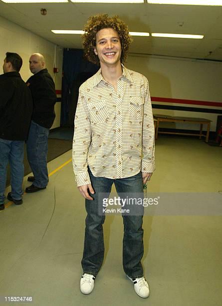 Justin Guarini during 1061 BLI Winter Jam 2002 Backstage at Nassau Coliseum in Hempstead New York United States
