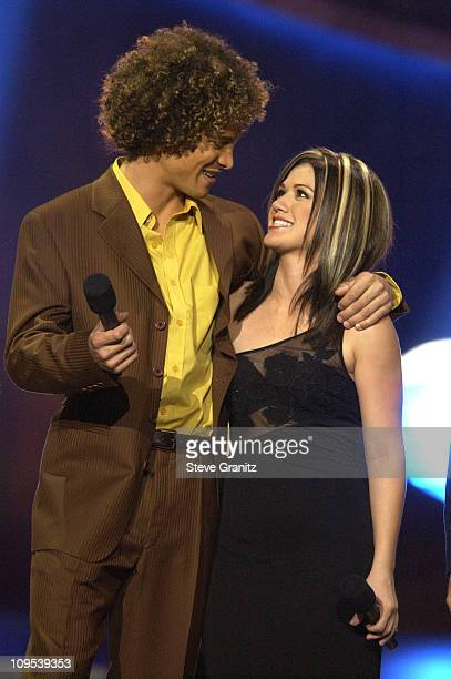 Justin Guarini Kelly Clarkson during American Idol Season 1 Finale Performance Show at Kodak Theatre in Hollywood California United States