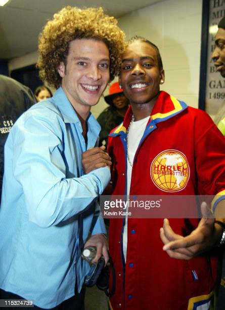 Justin Guarini with Mario during 1061 BLI Winter Jam 2002 Backstage at Nassau Coliseum in Hempstead New York United States