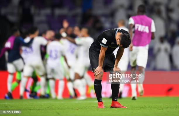 Justin Gulley of Team Wellington looks dejected as he misses the decisive penalty in the shoot out during the FIFA Club World Cup first round...
