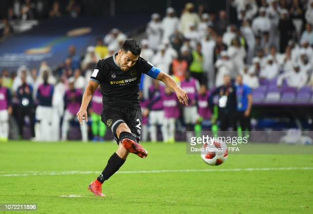 Justin Gulley of Team Wellington misses the decisive penalty in the shoot out during the FIFA Club World Cup first round play-off match between Al...