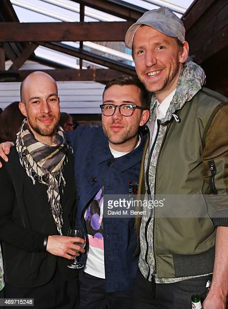 Justin Haig Kit Neale and Christopher Raeburn attend Shoreditch House for the British Fashion Council NEWGEN MEN SS16 winners ceremony hosted by Grey...