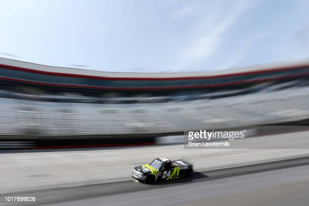 Justin Haley driver of the Fraternal Order of Eagles Chevrolet practices for the NASCAR Camping World Truck Series UHOH 200 at Bristol Motor Speedway...