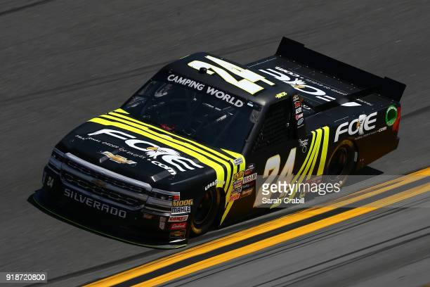 Justin Haley driver of the Fraternal Order of Eagles Chevrolet practices for the NASCAR Camping World Truck Series NextEra Energy Resources 250 at...