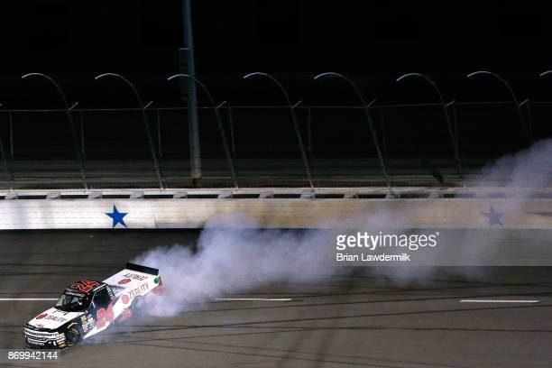 Justin Haley driver of the Zeality Chevrolet is involved in an ontrack incident during the NASCAR Camping World Truck Series JAG Metals 350 Driving...