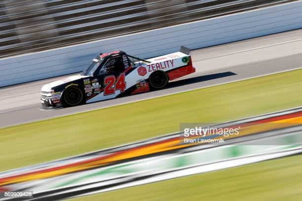 Justin Haley driver of the Zeality Chevrolet practices for the NASCAR Camping World Truck Series JAG Metals 350 Driving Hurricane Harvey Relief at...