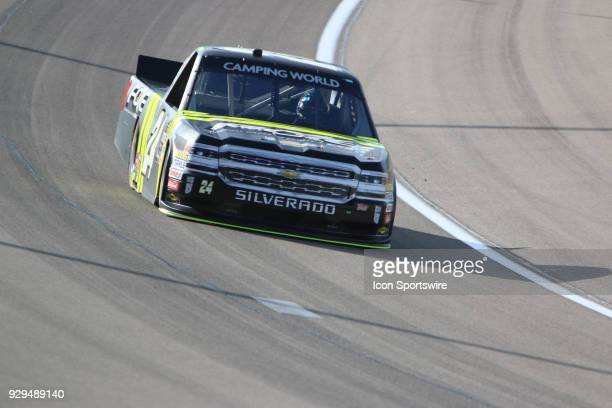 Justin Haley GMS Racing Chevrolet Silverado during practice for the Stratosphere 200 NASCAR Camping World Truck Series race on March 1 at Las Vegas...