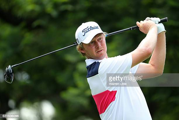 Justin Harding of South Africa hits his tee shot on the 1st hole during day one of The BMW South African Open Championship at Glendower Golf Club on...