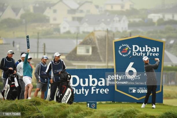 Justin Harding of South Africa plays his tee shot on the sixth hole during Day Two of the Dubai Duty Free Irish Open at Lahinch Golf Club on July 05,...