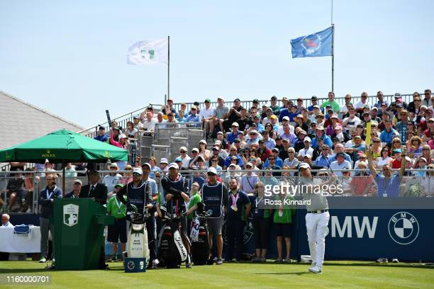 Justin Harding of South Africa takes his tee shot on the first hole during Day One of the Dubai Duty Free Irish Open at Lahinch Golf Club on July 04,...