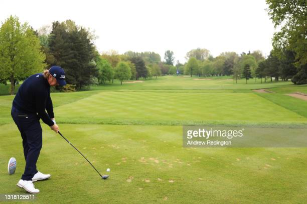 Justin Harding of South Africa tees off on the first hole during the Final Round of The Betfred British Masters hosted by Danny Willett at The Belfry...