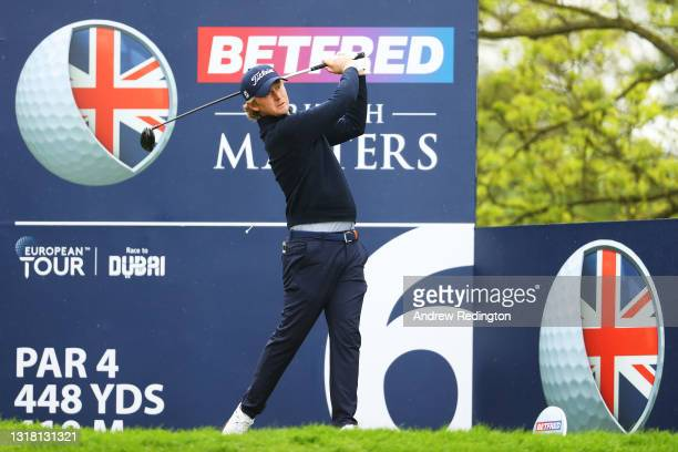 Justin Harding of South Africa tees off on the sixth hole during the Final Round of The Betfred British Masters hosted by Danny Willett at The Belfry...