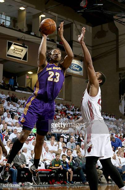 Justin Harper from the Los Angeles Defenders takes the ball to the basket past Jabril Trawick from the Sioux Falls Skyforce during the NBA DLeague...