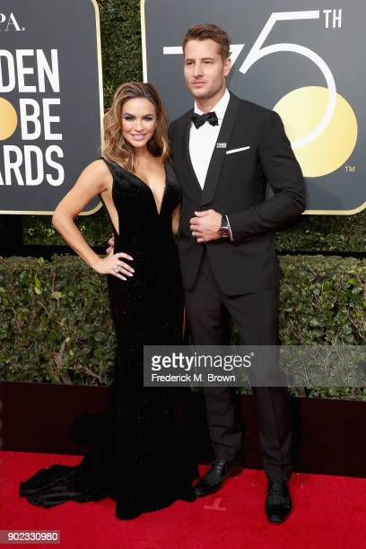 Justin Hartley and Chrishell Stause attend The 75th Annual Golden Globe Awards at The Beverly Hilton Hotel on January 7 2018 in Beverly Hills...