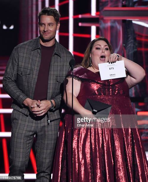 Justin Hartley and Chrissy Metz present an award during the 2019 Billboard Music Awards at MGM Grand Garden Arena on May 1 2019 in Las Vegas Nevada