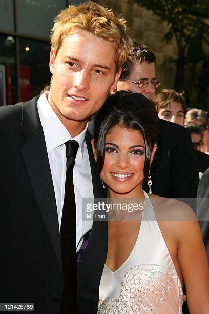 Justin Hartley and Lindsay Korman during 34th Annual Daytime Emmy Awards Arrivals at Kodak Theatre in Hollywood California United States